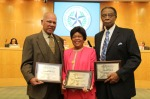 Trustee Lawrence Marshall (left) and administrators Faye Bryant (center) and Felix Cook were honored as HISD's Living Legends.